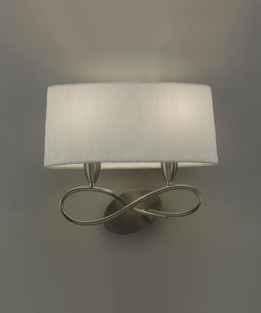 Aplique blanco níquel 2 luces LUA