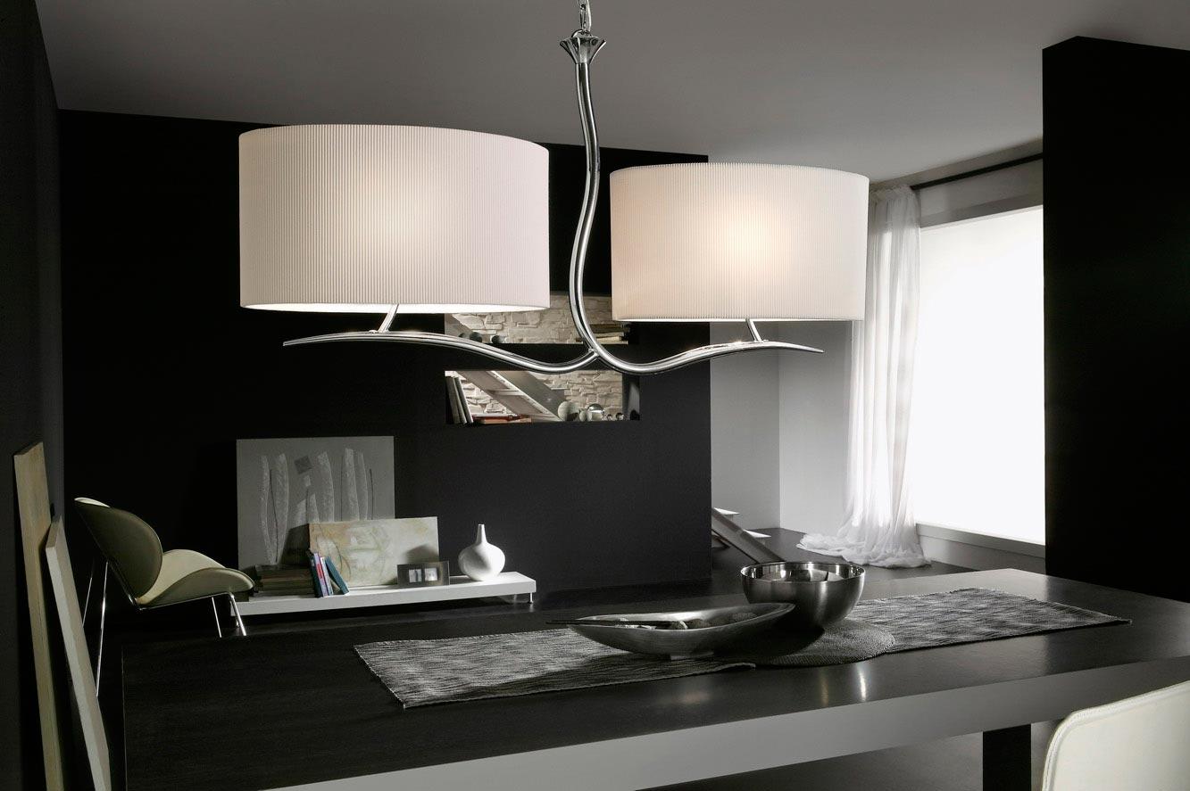 Lámpara colgante EVE cromo/blanco 4 luces ambiente