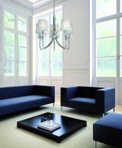 Lámpara colgante LOEWE cromo/blanco 5 luces ambiente