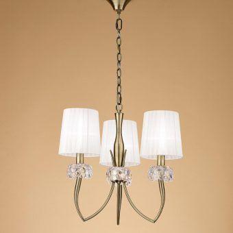 Lámpara cuero 3 luces LOEWE