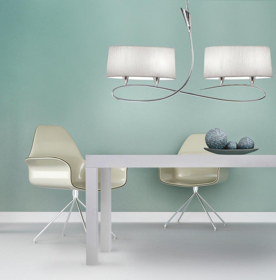 Lámpara colgante LUA blanco/satinado 4 luces ambiente