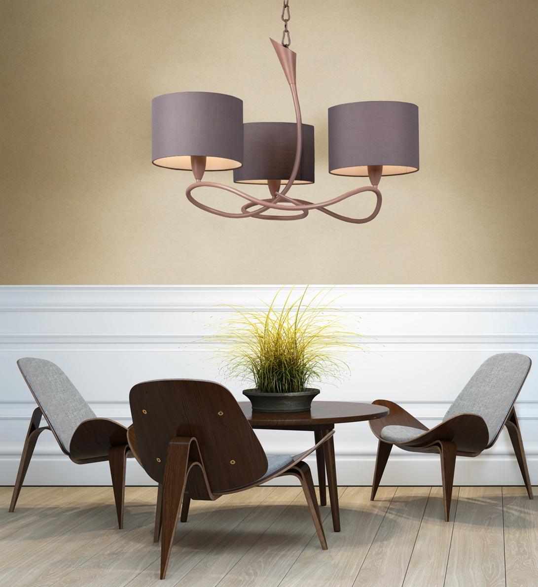 Lámpara colgante LUA gris/ceniza 3 luces ambiente