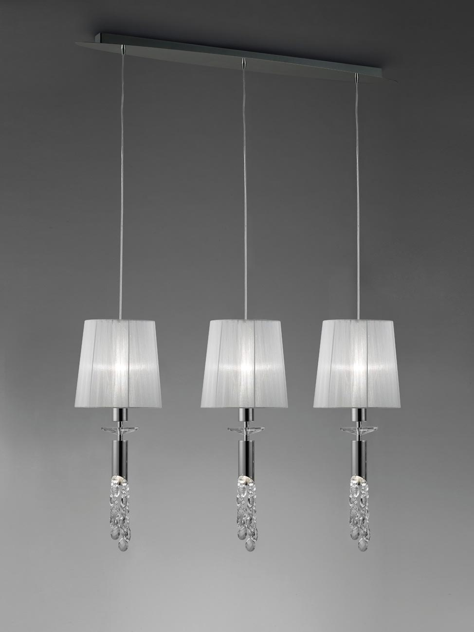 Colgante lineal cromo TIFFANY 3+3 luces