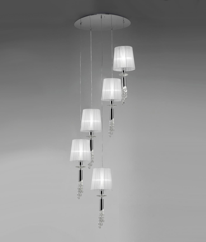 Colgante circular cromo TIFFANY 5+5 luces
