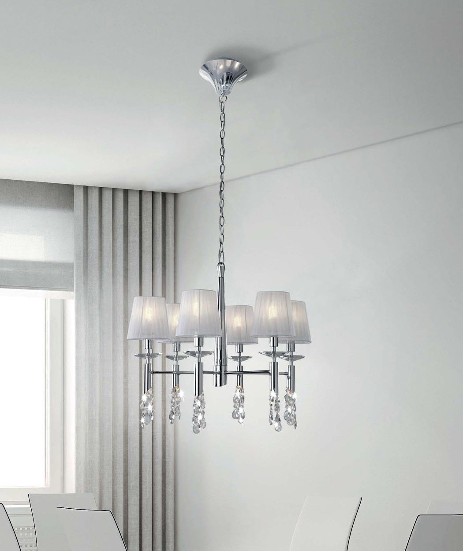 Lámpara colgante TIFFANY cromo 6+6 luces ambiente