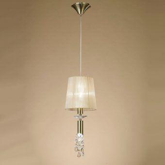 Lámpara colgante cuero TIFFANY 1+1 luces