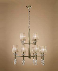 Lámpara grande cuero TIFFANY 12+12 luces