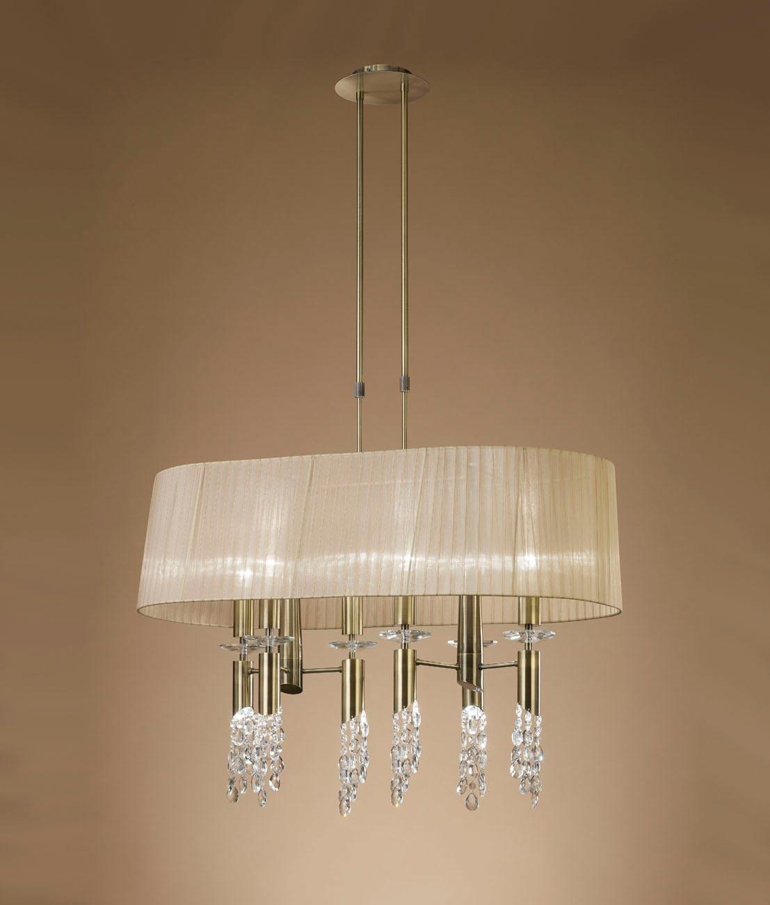 Lámpara cuero pantalla TIFFANY 6+6 luces