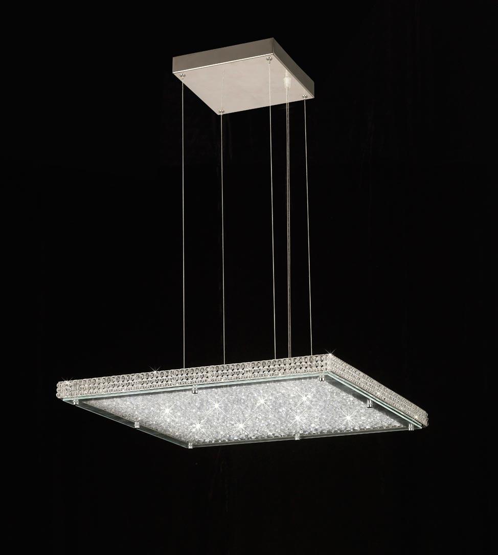 DESCATALOGADO Lámpara cuadrada cromo CRYSTAL LED