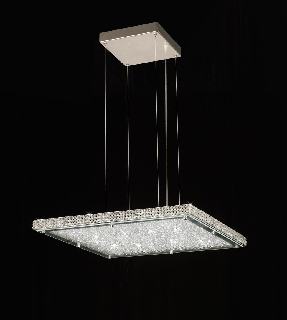 Lámpara cuadrada cromo CRYSTAL LED