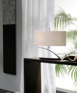 Lámpara de mesa EVE cromo/blanco ovalada ambiente