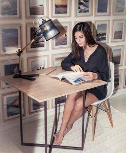 Lámpara de mesa NORDICA madera/negro ambiente