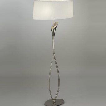 Lámpara de pie blanco níquel LUA