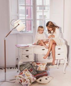 Lámpara de pie NORDICA madera/blanco ambiente