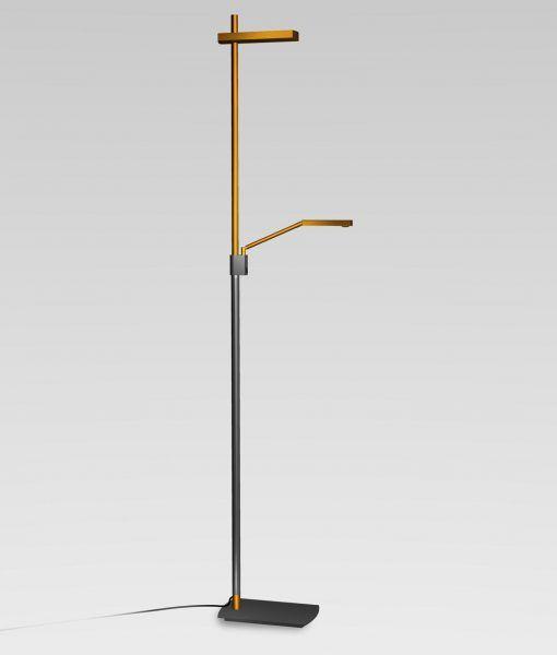 Lámpara de pie cobre antracita 2 luces PHUKET