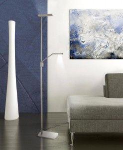 Lámpara de pie PHUKET níquel satinado 2 luces ambiente