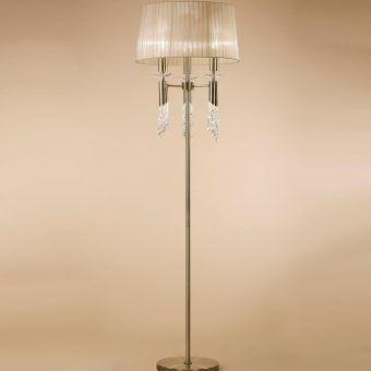 Pie de salón cuero TIFFANY 3+3 luces