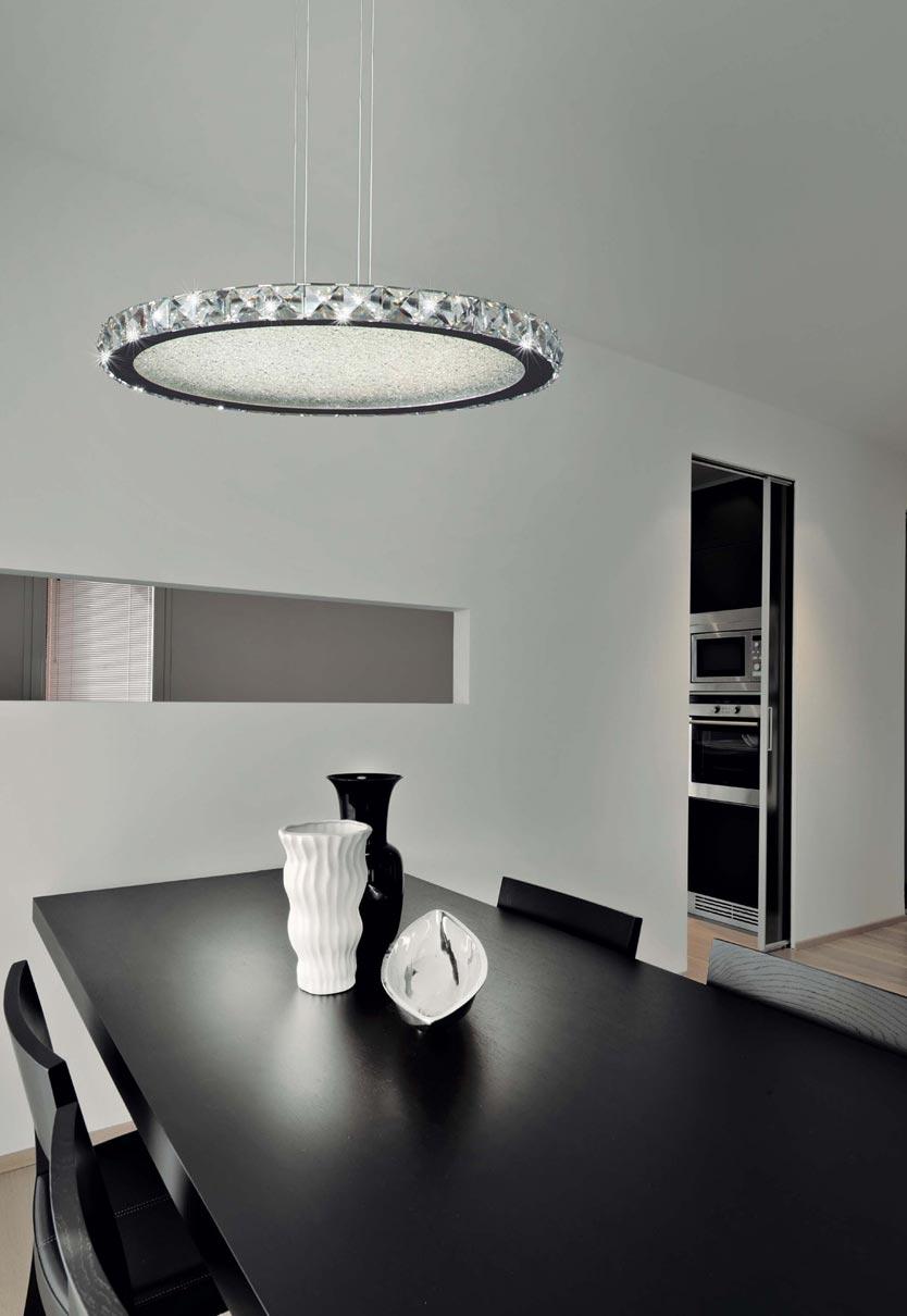 Lámpara redonda CRYSTAL LED cromo grande ambiente