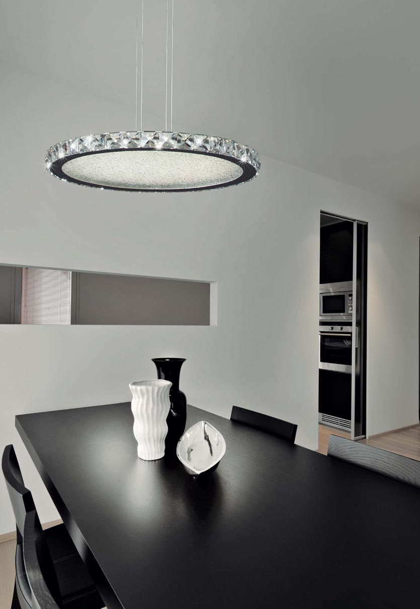 L mpara redonda cromo grande crystal led for Lamparas techo modernas para salon