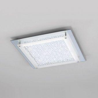Plafón cuadrado cromo espejo grande CRYSTAL LED