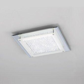 Plafón cuadrado cromo espejo mediano CRYSTAL LED