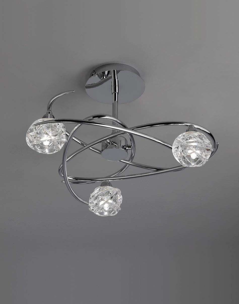 Semi plafón cromo 3 luces MAREMAGNUM