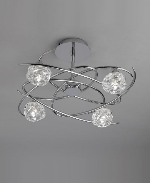 Semi plafón cromo 4 luces MAREMAGNUM