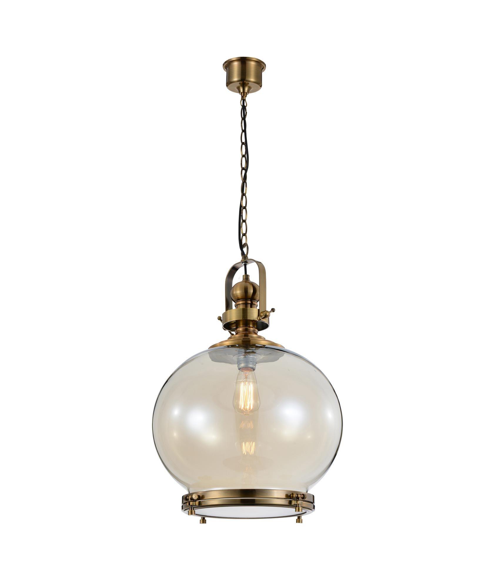 Lámpara colgante circular grande VINTAGE cristal/cuero