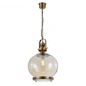 Lámpara colgante circular mediana VINTAGE cristal/cuero