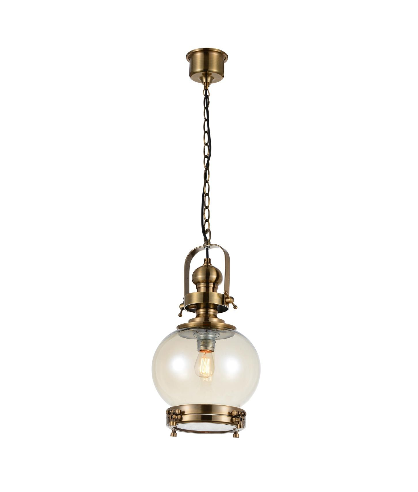 Lámpara colgante circular pequeña VINTAGE cristal/cuero