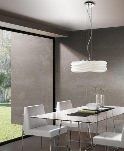 Lámpara colgante grande MEDITERRANEO cromo/cristal opal 3 luces ambiente