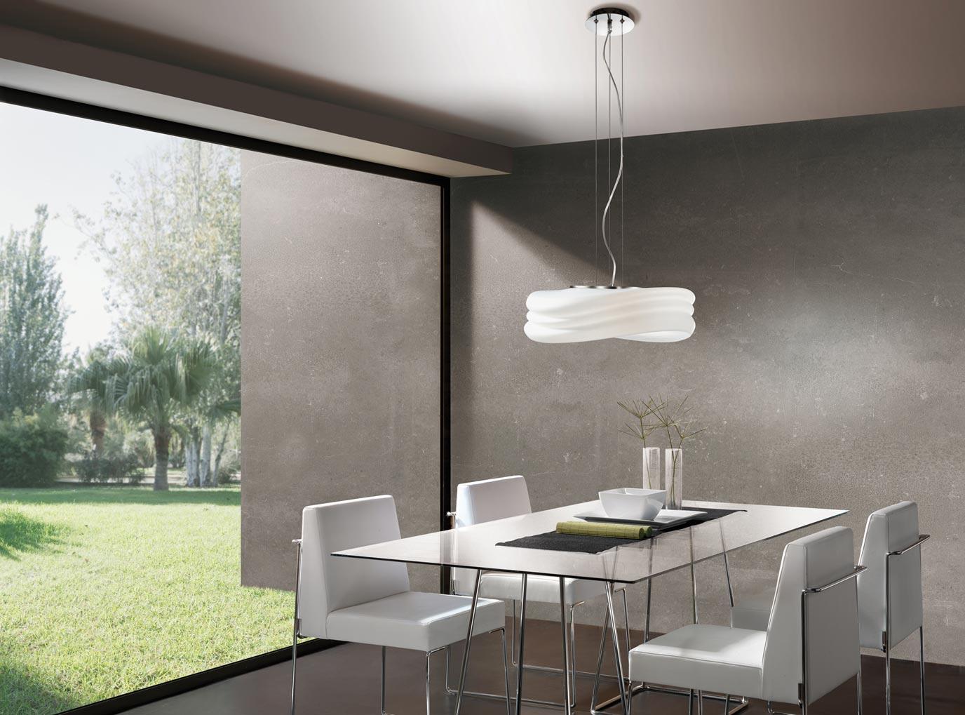 L mpara colgante grande mediterraneo cromo cristal opal 3 luces - Ultimas tendencias en cortinas ...