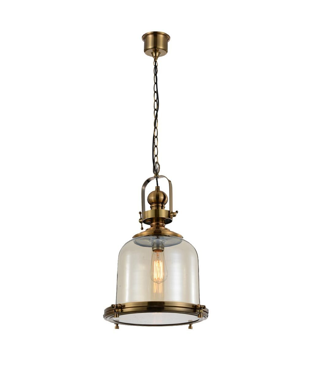 Lámpara colgante grande VINTAGE cristal/cuero