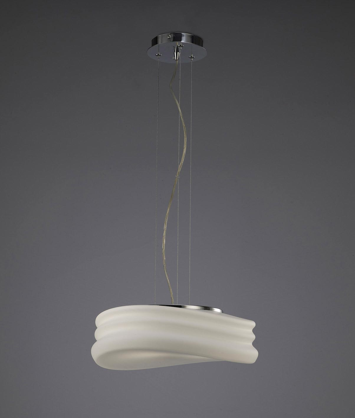 Lámpara colgante mediana MEDITERRANEO cromo/cristal opal 2 luces