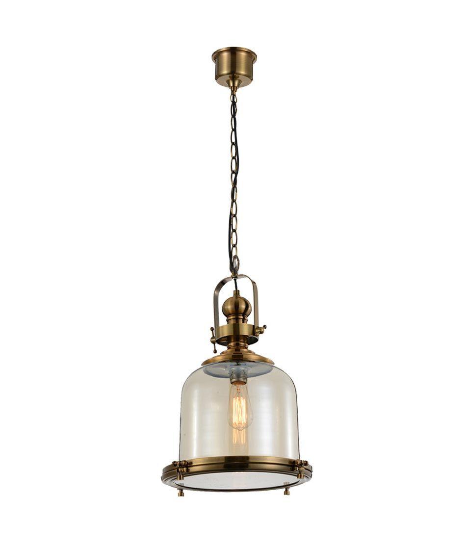 Lámpara colgante mediana VINTAGE cristal/cuero