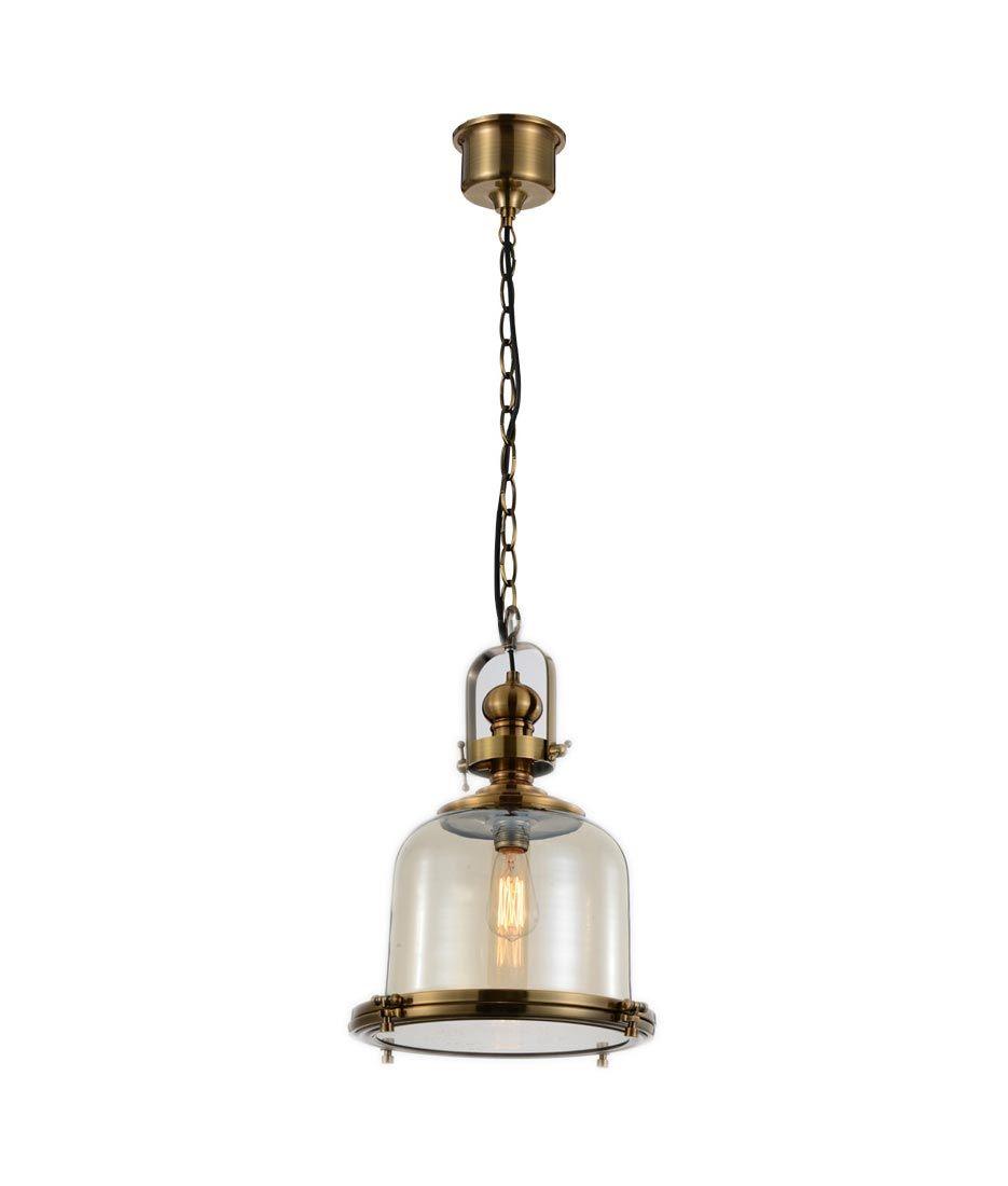Lámpara colgante pequeña VINTAGE cristal/cuero
