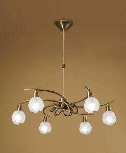 Lámpara cuero 6 luces BALI