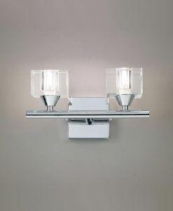 Aplique grande cromo cristal CUADRAX 2 luces