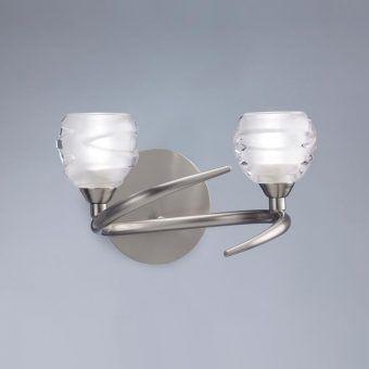Aplique níquel grande LOOP 2 luces