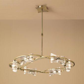 Lámpara circular cuero KROM 6 luces