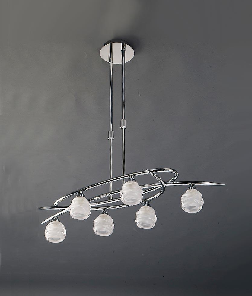 Lámpara cromo pequeño LOOP 6 luces