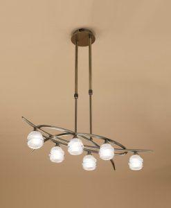Lámpara cuero pequeño LOOP 6 luces