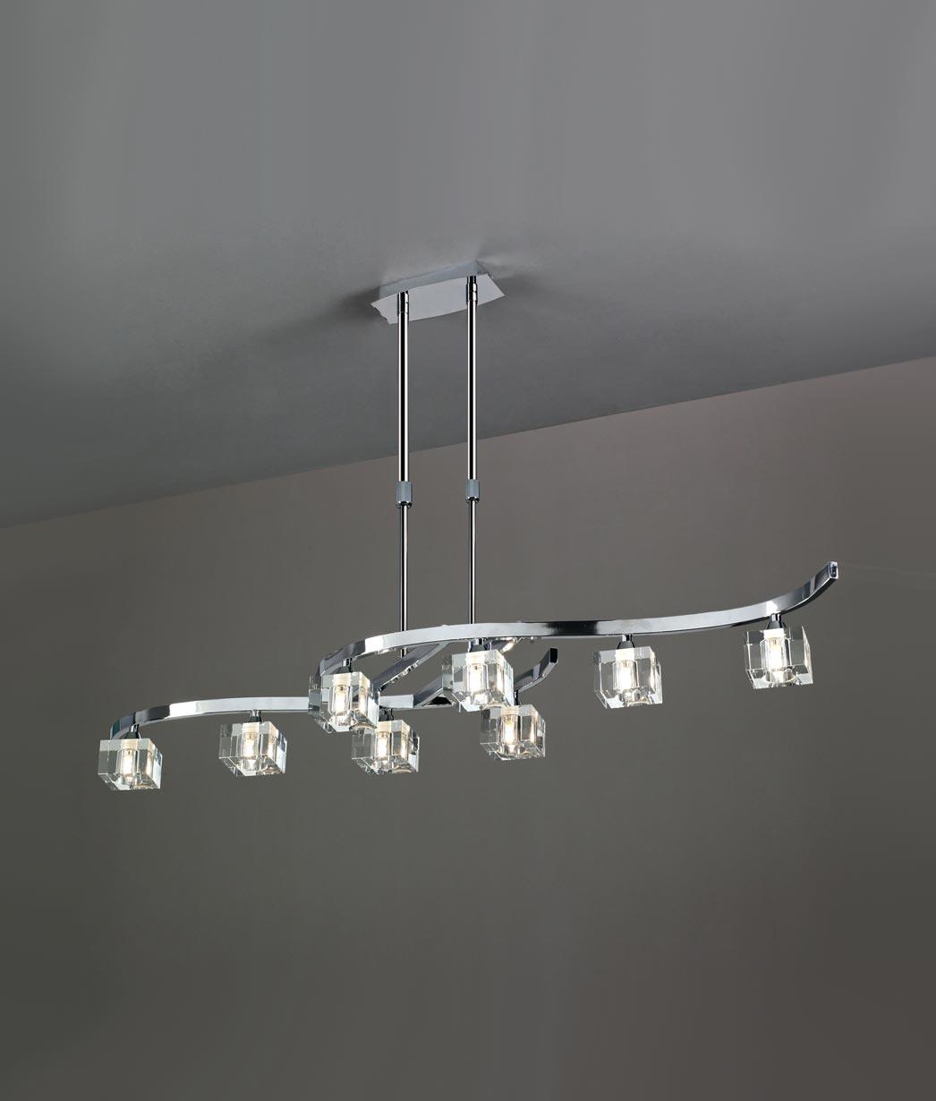 Lámpara grande cromo cristal CUADRAX 8 luces
