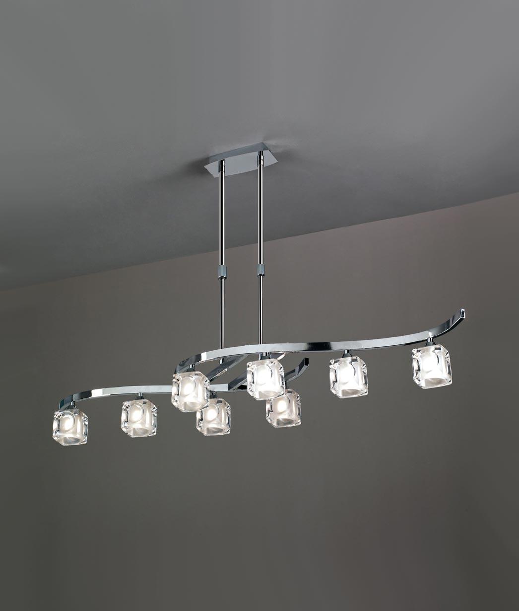Lámpara grande cromo CUADRAX 8 luces