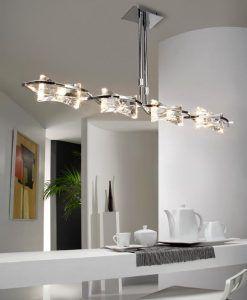 Lámpara lineal cromo KROM 4 luces ambiente