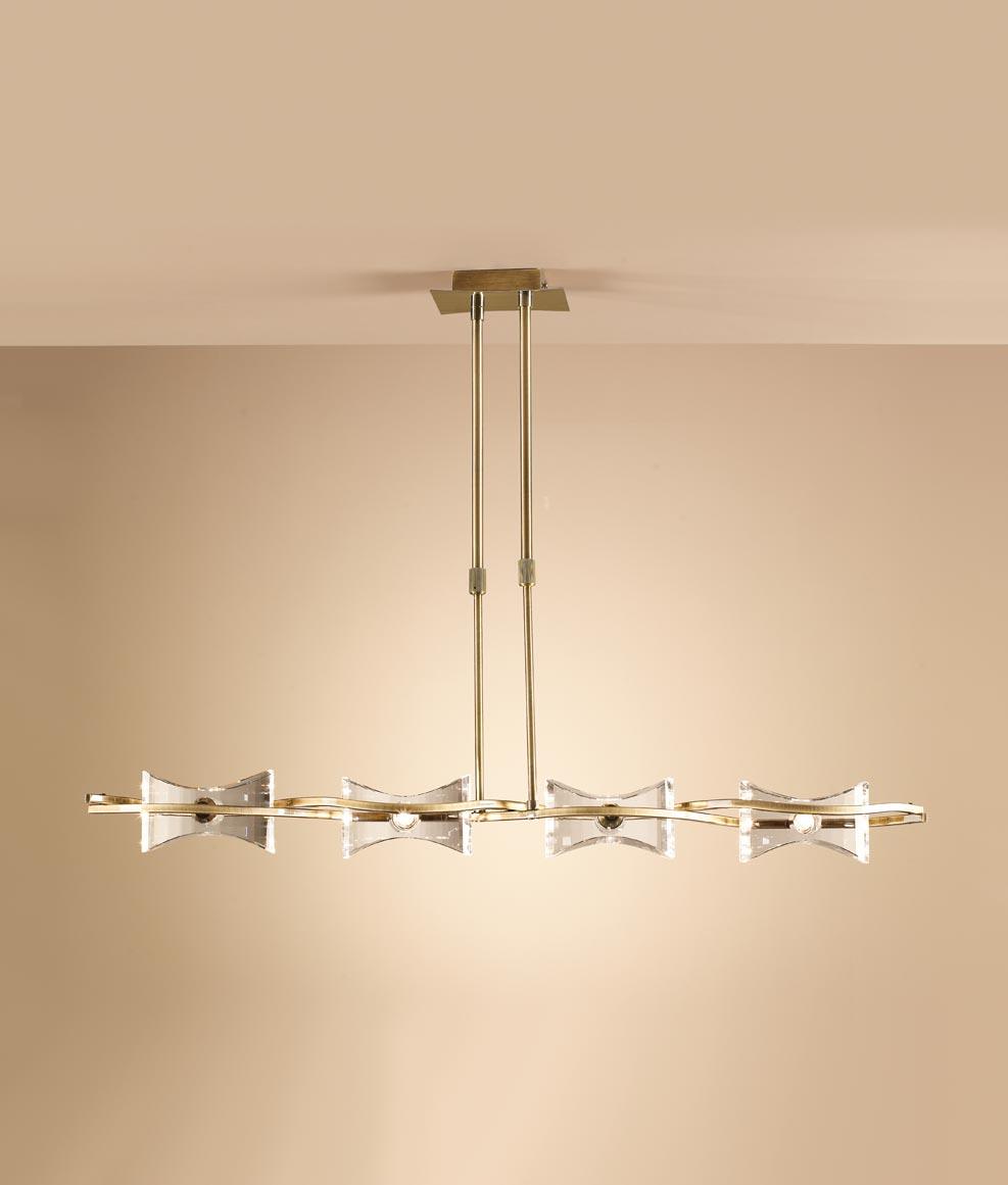 Lámpara lineal cuero KROM 4 luces