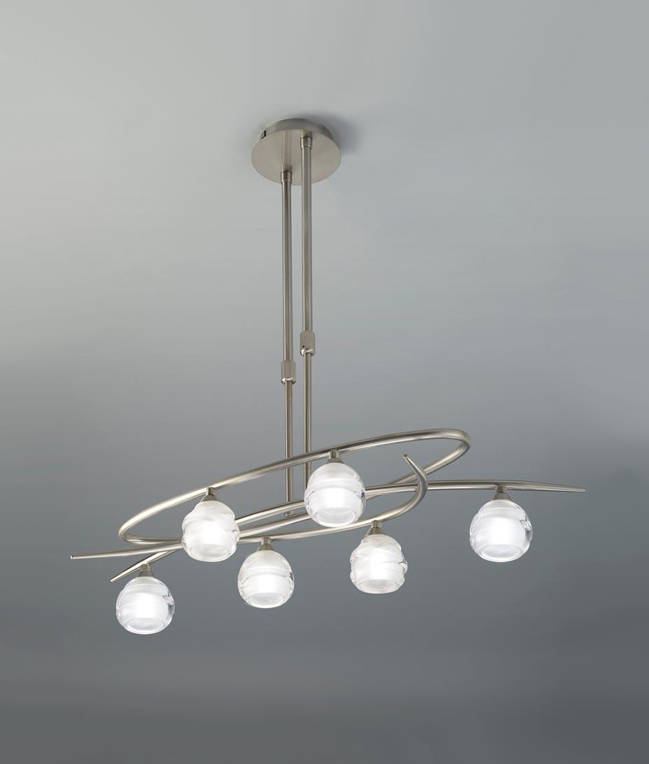 Lámpara níquel pequeño LOOP 6 luces
