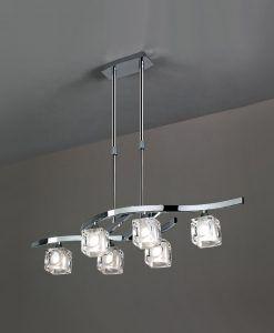 Lámpara pequeña cromo CUADRAX 6 luces