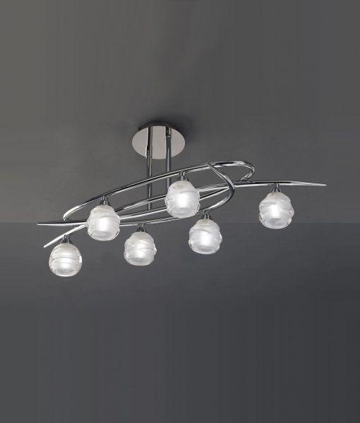 Plafón cromo grande LOOP 6 luces