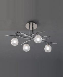 Plafón cromo mediano LOOP 4 luces